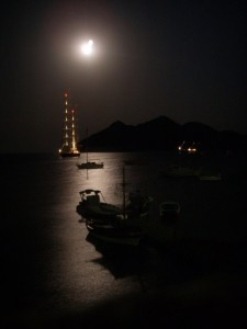 Grikos Bay under full moon